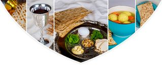 Pesah celebration Passover holiday. Traditional pesah plate text in hebrew: Photo collage different picture. Pesah celebration concept jewish Passover holiday Royalty Free Stock Photos