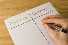 Pesaje encima de los positivos y de las negativas Foto de archivo libre de regalías