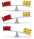 Pesando o amor e o grupo do dinheiro Imagem de Stock Royalty Free