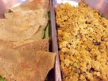 Pesarattu Dosa and Rava Upma - Indian Cuisine Stock Images