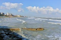 Pesaro Adriatic seglar utmed kusten Royaltyfria Foton