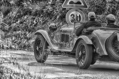 PESARO COLLE SAN BARTOLO , ITALY - MAY 17 - 2018 : ALFA ROMEO 6C 1750 GS 1930 on an old racing car in rally Mille Miglia 2018 the. PESARO COLLE SAN BARTOLO Royalty Free Stock Photos