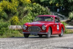PESARO COLLE SAN BARTOLO , ITALY - MAY 17 - 2018 : CISITALIA 202 SC1950 old racing car in rally Mille Miglia 2018 the famous ital. PESARO COLLE SAN BARTOLO royalty free stock photography