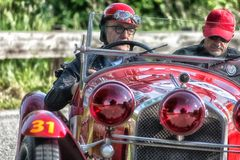 PESARO COLLE SAN BARTOLO , ITALY - MAY 17 - 2018 : ALFA ROMEO 6C 1750 GS 1930 on an old racing car in rally Mille Miglia 2018 the. PESARO COLLE SAN BARTOLO Stock Photo