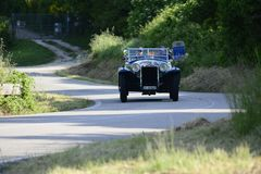 CHRYSLER 75 1929 racing car in rally MilleCHRYSLE Miglia 2018 the famous italian historical race 1927-195. PESARO COLLE SAN BARTOLO , ITALY - MAY 17 - 2018 : on royalty free stock image