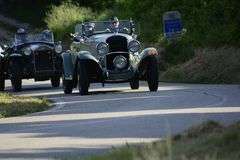 CHRYSLER 75 1929 racing car in rally Mille Miglia 2018 the famous italian historical race 1927-1957. PESARO COLLE SAN BARTOLO , ITALY - MAY 17 - 2018 : on an old stock images