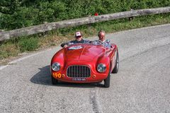GILCO FIAT 1100 SPORT 1950. PESARO COLLE SAN BARTOLO , ITALY - MAY 17 - 2018 : old racing car in rally Mille Miglia 2018 the famous italian historical race 1927 royalty free stock photo
