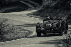 JAGUAR XK 1201950 on an old racing car in rally Mille Miglia 2018 the famous italian historical race 1927-1957. PESARO COLLE SAN BARTOLO , ITALY - MAY 17 - 2018 royalty free stock photography
