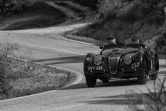 JAGUAR XK 1201950 on an old racing car in rally Mille Miglia 2018 the famous italian historical race 1927-1957. PESARO COLLE SAN BARTOLO , ITALY - MAY 17 - 2018 royalty free stock photos
