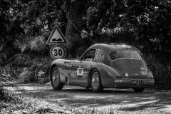 PESARO COLLE SAN BARTOLO , ITALY - MAY 17 - 2018 : TALBOT-LAGO T 26 GS BERLINETTE1950 old racing car in rally Mille Miglia 2018 t. PESARO COLLE SAN BARTOLO stock photos