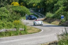 PESARO COLLE SAN BARTOLO , ITALY - MAY 17 - 2018 : PORSCHE 356 1500 SPEEDSTER1954 old racing car in rally Mille Miglia 2018 the f. PESARO COLLE SAN BARTOLO Stock Photography