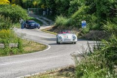 PESARO COLLE SAN BARTOLO , ITALY - MAY 17 - 2018 : PORSCHE 356 1500 SPEEDSTER1954 old racing car in rally Mille Miglia 2018 the f. PESARO COLLE SAN BARTOLO Stock Image