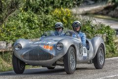 PESARO COLLE SAN BARTOLO , ITALY - MAY 17 - 2018 : STANGUELLINI 1100 SPORT BIALBERO1950 old racing car in rally Mille Miglia 2018. PESARO COLLE SAN BARTOLO royalty free stock image