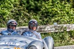 PESARO COLLE SAN BARTOLO , ITALY - MAY 17 - 2018 : STANGUELLINI 1100 SPORT BIALBERO1950 old racing car in rally Mille Miglia 2018. PESARO COLLE SAN BARTOLO stock image