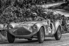PESARO COLLE SAN BARTOLO , ITALY - MAY 17 - 2018 : STANGUELLINI 1100 SPORT BIALBERO1950 old racing car in rally Mille Miglia 2018. PESARO COLLE SAN BARTOLO stock photography