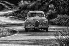 PESARO COLLE SAN BARTOLO , ITALY - MAY 17 - 2018 : TALBOT-LAGO T 26 GS BERLINETTE1950 old racing car in rally Mille Miglia 2018 t. PESARO COLLE SAN BARTOLO royalty free stock photos