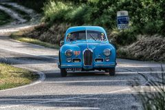 PESARO COLLE SAN BARTOLO , ITALY - MAY 17 - 2018 : TALBOT-LAGO T 26 GS BERLINETTE1950 old racing car in rally Mille Miglia 2018 t. PESARO COLLE SAN BARTOLO stock photo