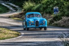 PESARO COLLE SAN BARTOLO , ITALY - MAY 17 - 2018 : TALBOT-LAGO T 26 GS BERLINETTE1950 old racing car in rally Mille Miglia 2018 t. PESARO COLLE SAN BARTOLO stock photography