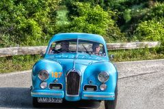 PESARO COLLE SAN BARTOLO , ITALY - MAY 17 - 2018 : TALBOT-LAGO T 26 GS BERLINETTE1950 old racing car in rally Mille Miglia 2018 t. PESARO COLLE SAN BARTOLO royalty free stock photography