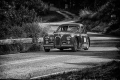 PESARO COLLE SAN BARTOLO , ITALY - MAY 17 - 2018 : TALBOT-LAGO T 26 GS BERLINETTE1950 old racing car in rally Mille Miglia 2018 t. PESARO COLLE SAN BARTOLO stock image