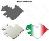 Pesaro en reeks van de het overzichtskaart van Urbino de lege gedetailleerde Royalty-vrije Stock Afbeeldingen