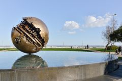 Pesaro and the Great Ball of A  Pomodoro Royalty Free Stock Images