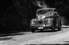 FIAT 500 C `TOPOLINO` 1950. PESARO, ITALY - MAY 15: old racing car in rally Mille Miglia 2017 the famous italian historical race 1927-1957 on May 19 2017 Royalty Free Stock Images