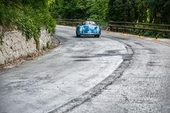 PORSCHE 356 1500 SPEEDSTER 1955. PESARO, ITALY - MAY 15: old racing car in rally Mille Miglia 2015 the famous italian historical race 1927-1957 on May 15 2015 Royalty Free Stock Photos