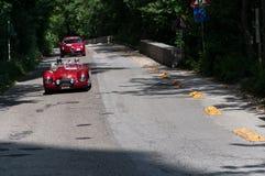PESARO WŁOCHY, MAJ 15, 2017 - CISITALIA 202 S MM pająka NUVOLARI 1948old bieżny samochód w zlotnym Mille Miglia 2015 sławny Itali Fotografia Royalty Free