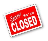 Pesaroso nós somos fechados Foto de Stock