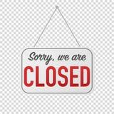 pesaroso nós somos sinal fechado para a porta ilustração stock