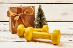 Pesas de gimnasia, árbol de navidad y presente fotografía de archivo