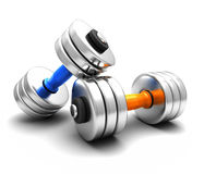 pesas de gimnasia 3D Imágenes de archivo libres de regalías