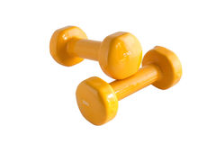 Pesas de gimnasia amarillas 3 Imagen de archivo libre de regalías