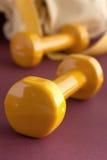 Pesas de gimnasia amarillas con el bolso amarillo del deporte Foto de archivo