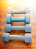 Pesas de gimnasia azules en un piso Imagen de archivo libre de regalías