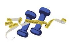 Pesas de gimnasia azules y cinta de la medida en color amarillo Fotos de archivo