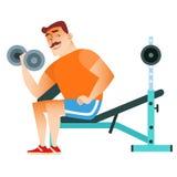 Pesas de gimnasia del entrenamiento del músculo de la aptitud del hombre Fotos de archivo