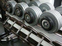 Pesas de gimnasia del levantamiento de pesas en un estante Foto de archivo libre de regalías