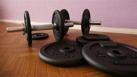 Pesas de gimnasia en gimnasio - entrenamiento del músculo almacen de metraje de vídeo