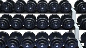 Pesas de gimnasia en un estante, lazo metrajes