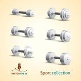 Pesas de gimnasia. Iconos del deporte Imagenes de archivo