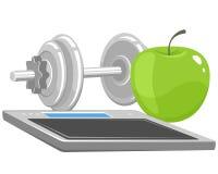 Pesas de gimnasia, manzana y escalas Fotografía de archivo