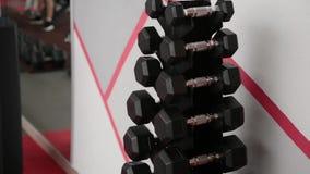 Pesas de gimnasia para la mentira de entrenamiento en el estante en el gimnasio almacen de video