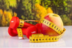 Pesas de gimnasia y manzana de la aptitud Imagen de archivo libre de regalías