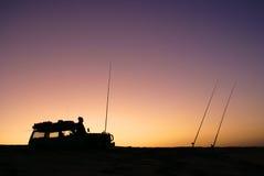 pesca 4x4 en la salida del sol Imagen de archivo libre de regalías