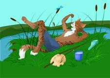 Pesca acertada stock de ilustración
