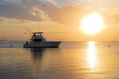 Pesca andante della barca al tramonto Immagine Stock
