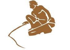 Pesca antica dell'uomo Immagine Stock Libera da Diritti