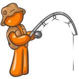 Pesca arancione dell'uomo Fotografia Stock